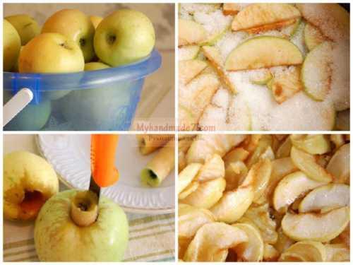 Как только начнет пениться, высыпаю яблоки и перемешиваю