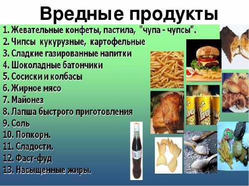 Вредные продукты в диете для подростка
