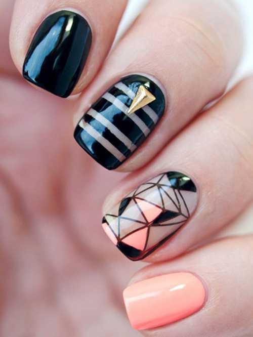 Ногти на Новый год 2016 с элементами геометрии: стильные идеи фото