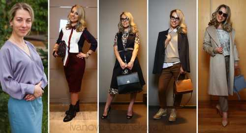 Все так же актуальны прямые брюки и юбки миди, платья из плотной ткани, сорочки по типу мужских